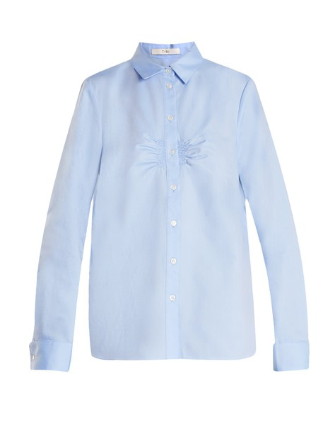 Tibi shirt cotton light blue light blue top