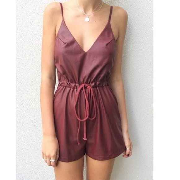 spring cute clothes romper burgundy