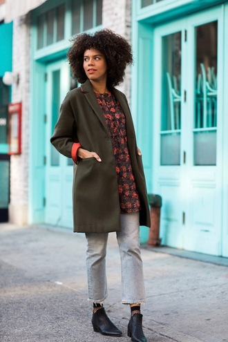 five friday faves (no. 9) blogger top shoes coat tumblr green coat jeans denim light blue jeans boots black boots ankle boots