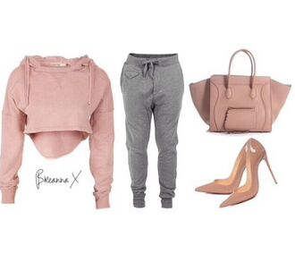 sweater cropped sweater high heels pants grey sweatpants top shoes bag nude high heels cardigan shirt dusty pink cropped hoodie
