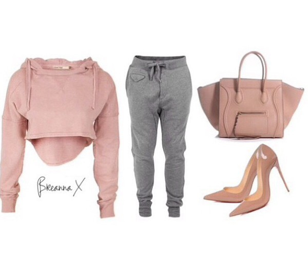 sweater cropped sweater high heels pants grey sweatpants top shoes bag nude high heels cardigan shirt dusty pink cropped hoodie gym leggings fitness pants workout pants blouse blue bow off the shoulder top
