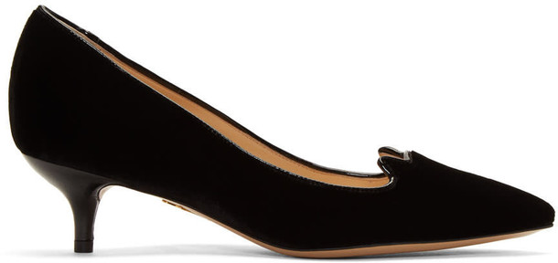 charlotte olympia kitten heels heels black velvet shoes