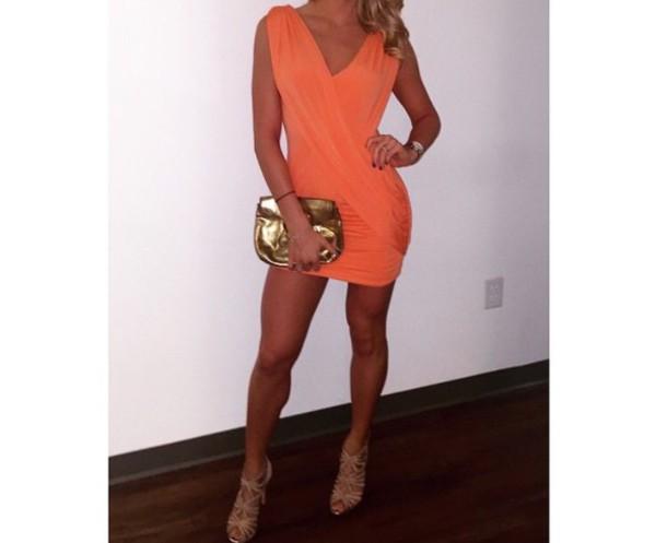 dress wrap dress orange dress tank top style