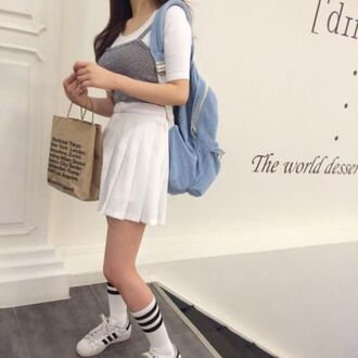 shirt american apparel adidas socks swag bag white black chic korean fashion k fashion summer skirt tennis skirt crop slim grey top summer dress