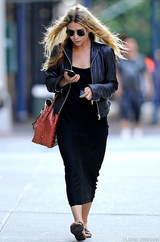 olsen sisters blogger dress sunglasses jacket bag jeans leather jacket sandals biker jacket bucket bag