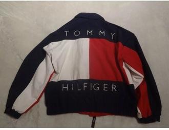 jacket tommy hilfiger red blue retro