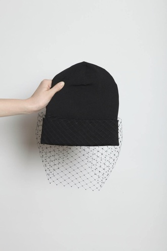 hat beanie black black beanie fold up beanie mesh mesh beanie wedding accessories veil beanie fishnet beanie