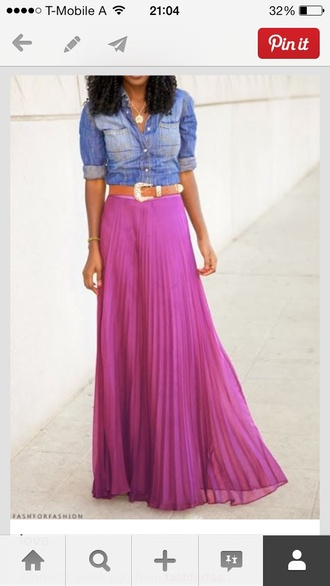 skirt denim fitted button down pleated maxi bright
