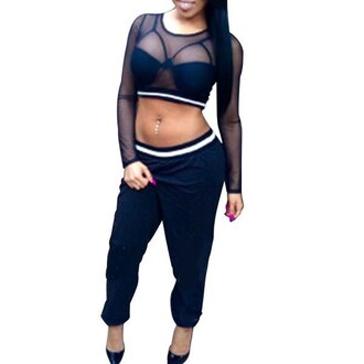 top twinset sexy pants crop tops mesh mesh crop tops black casual see through rose wholesale dark streetwear