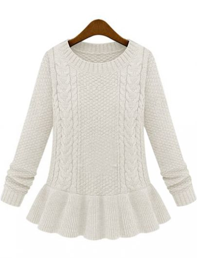 Ivory Long Sleeve Cable Knit Ruffle Sweater - Sheinside.com