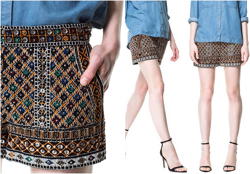 Size s Zara Stones Embroidered Shorts Short Bottoms Authentic Zara | eBay