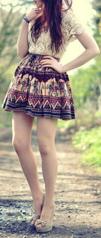 shirt lace shirt white lace aztec aztec skirt skirt tribal print skater skirt circle skirt tumblr tumblr outfits summer summer outfits shoes blouse folk colorful