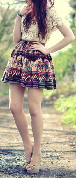 Shirt lace shirt white lace aztec aztec skirt skirt tribal pattern skater skirt circle ...
