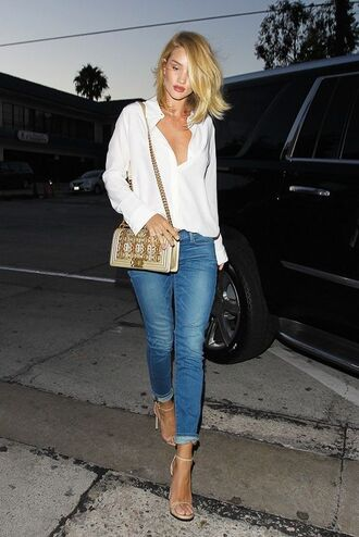 jacket cuffed jeans blue jeans sandals high heel sandals sandal heels nude sandals shirt white shirt bag chanel bag chanel rosie huntington-whiteley celebrity model embellished denim jeans celebrity style model off-duty embellished bag