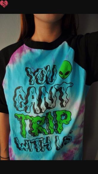 shirt baseball tee alien tie dye