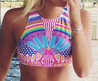 swimwear halter neck pink purple blue colorful halter top bright rainbow bathing suit top