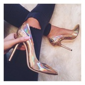 shoes,metallic,pearlized,metallic shoes,gold,holographic,fashion,holographic shoes,high heels,pinterest,shorts,heels