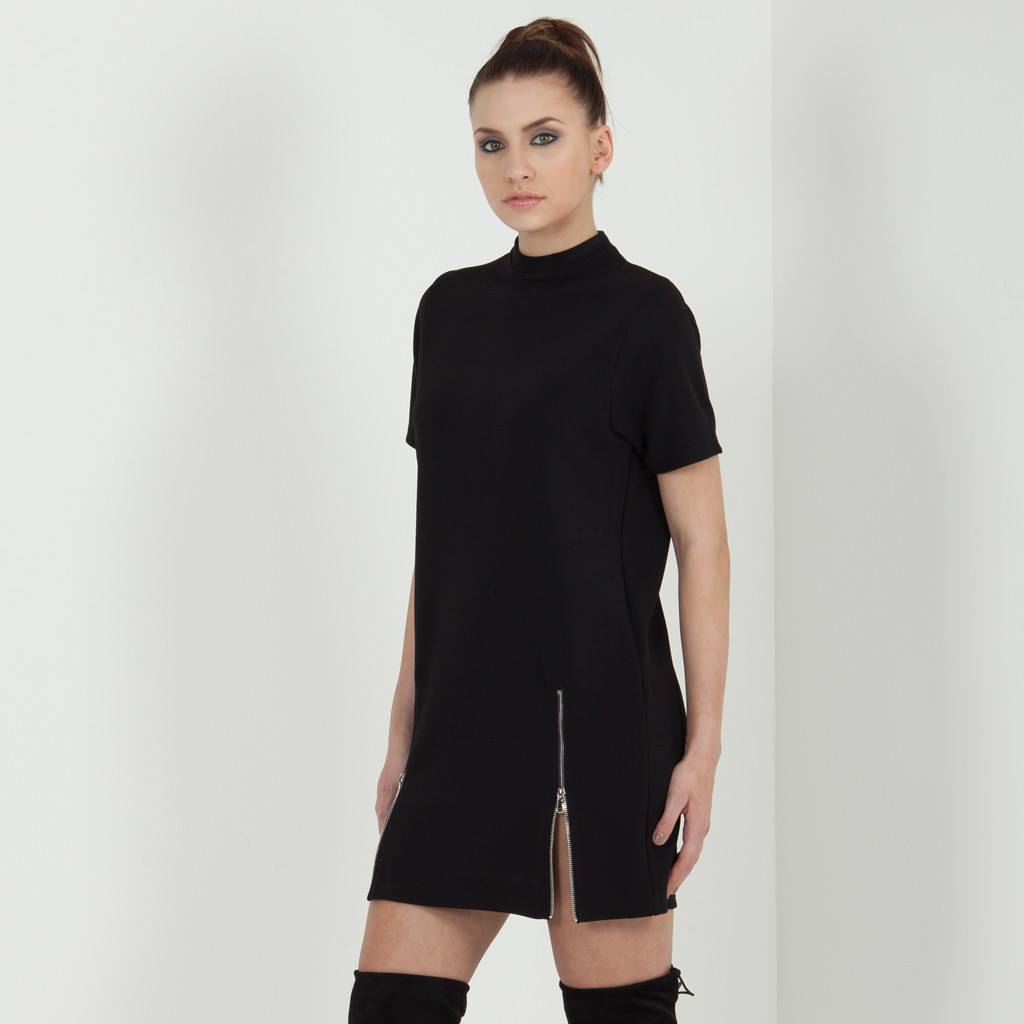 Zip detail t shirt dress black for Zip up dress shirt