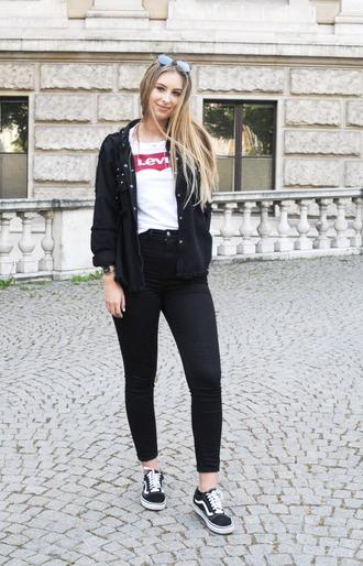 shoes white t-shirt black studded jacket black jeans black sneakers vans blogger