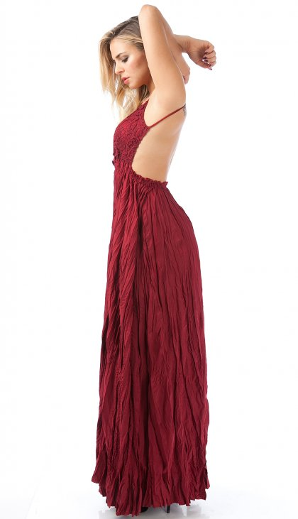 Lovely crochet lace open back maxi dress