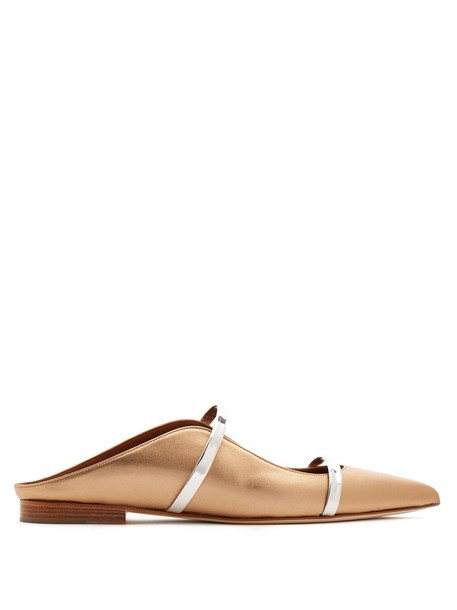 MALONE SOULIERS backless flats leather flats leather gold shoes