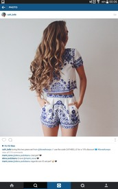 shorts,jumpsuit,shirt,clothes,outfit,blue,white,clothes horse,blouse,romper,blue and white,ornament,set,hairstyles,two piece dress set,two-piece,cute,boho,bohemian