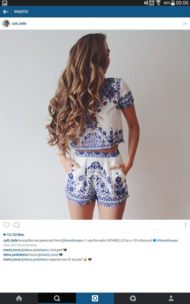 shorts jumpsuit shirt clothes outfit blue white clothes horse blouse romper blue and white ornament set hairstyles two piece dress set two-piece cute blue and white boho two-piece bohemian