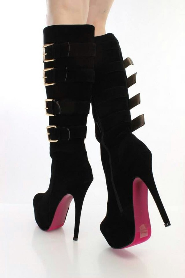 shoes boots high heels boots black buckles high heels buckle boots