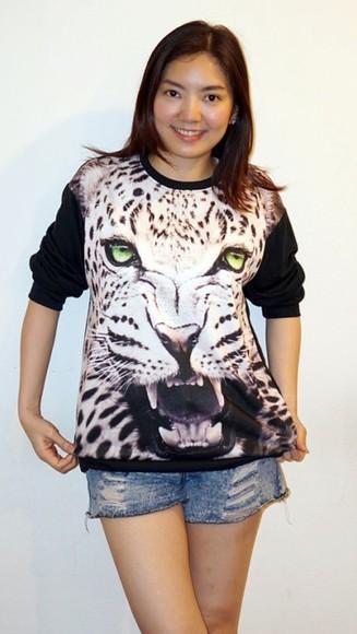 leopard print top leopard print top leopard print high heels tiger print tiger shirt sweater t-shirt shirt vest tiger print sweatshirt tiger sweater hoodie