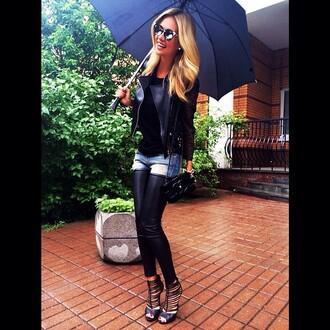 jacket lether jacket black black jeans denim shorts umbrella summer sunglasses