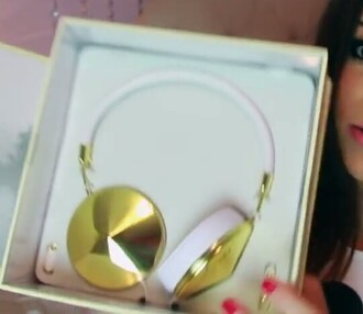 gold color cool headphones