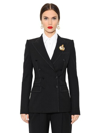 jacket wool jacket double breasted wool black