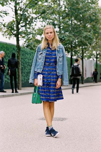 vanessa jackman blogger dress jacket bag jeans shirt