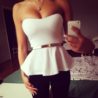 top white white top flare belt crop tops bustier boobs trendy sleeveless sleveless top bodycon white sleeveless top cute style boho girly sexy tumblr cool dope