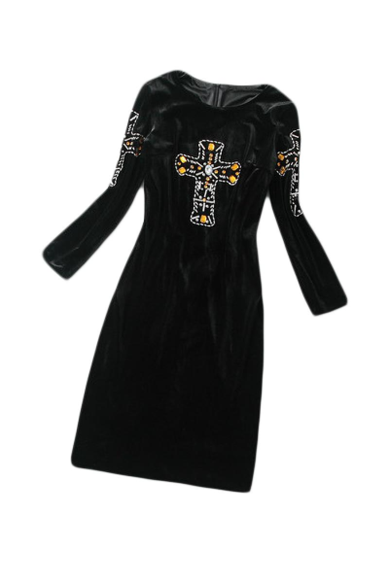 New Velvet Cross Pattern Beaded Long Sleeve Dress,Cheap in Wendybox.com