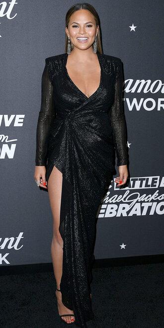 dress gown black dress maxi dress slit dress chrissy teigen