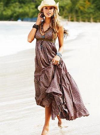dress bohemian bohemian dress spaghetti strap spotted empire waist loose multi-coloured