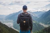 bag,backpack,rucksack,mens accessories,black,black backpack,adventure time,rolltop backpack,mountain,folk