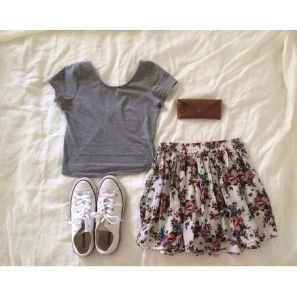skirt flower print skirt blouse weheartit tumblr shorts t-shirt floral skirt