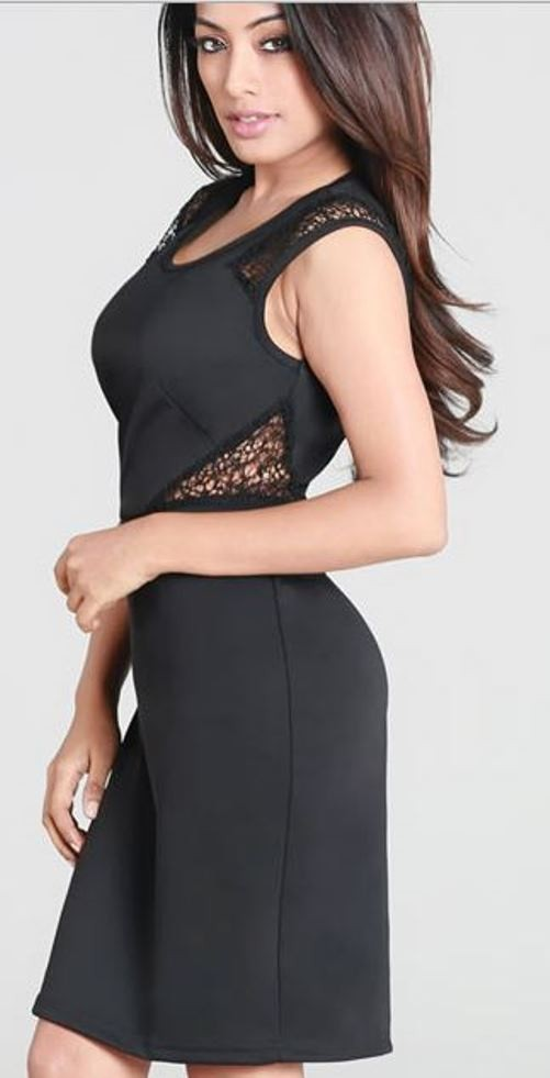Black with Lace Cut Outs Bodycon Dress