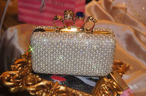 Skull Ring Pearl Crystal Bead Spark Evening Wedding Bridal Clutch Purse Handbag | eBay