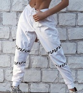 pants,fila,baggy,baggy pants,white