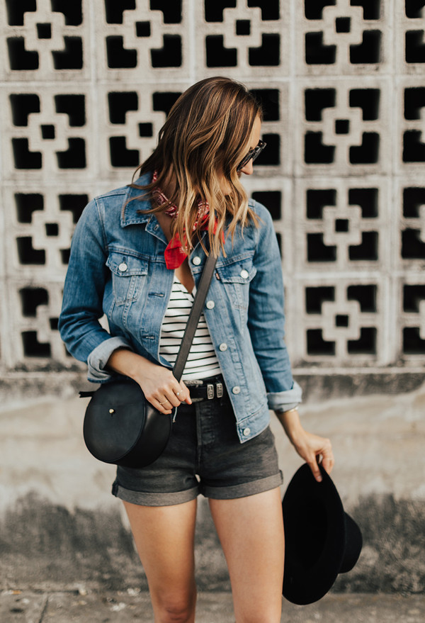 t-shirt mini shorts denim shorts hat bandana denim jacket blogger blogger style striped t-shirt crossbody bag shorts jacket sunglasses bag