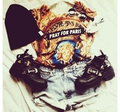 shirt,boots,sunglas,paris,t-shirt,shorts,High waisted shorts,beanie,sunglasses,pray for paris,shoes,hat