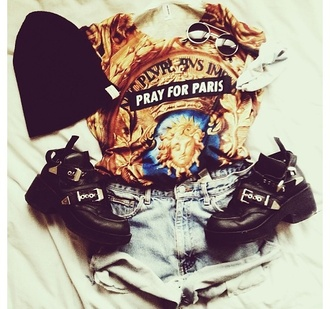 shirt boots sunglas paris t-shirt shorts high waisted shorts beanie sunglasses pray for paris shoes hat