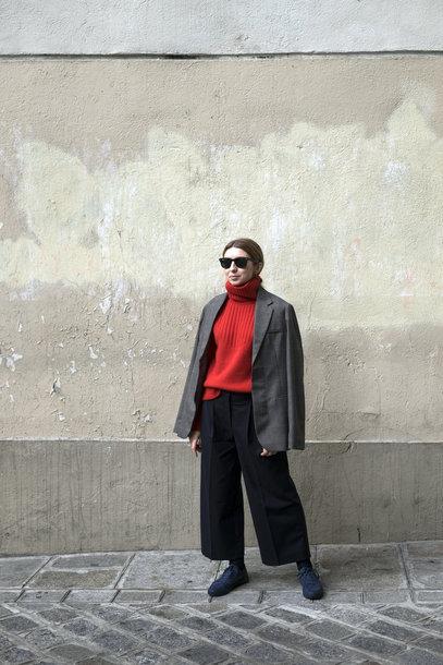 sweater tumblr red sweater turtleneck turtleneck sweater blazer grey blazer and shorts set pants black pants culottes black culottes sunglasses