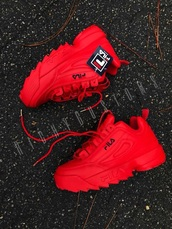 shoes,sneakers,fila sneakers,red