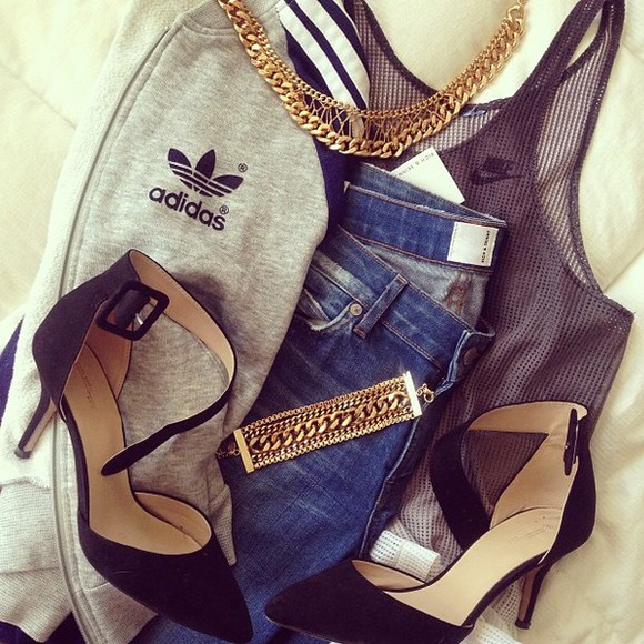 tank top nike mesh jacket shoes adidas sporty strap heels gold chain sporty chic jeans jewels gold addidas