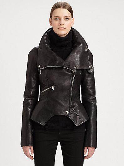 Alexander McQueen - Leather Motorcycle Jacket - Saks.com