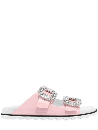 ROGER VIVIER, 30mm slidy viv patent leather sandals, Pink, Luisaviaroma